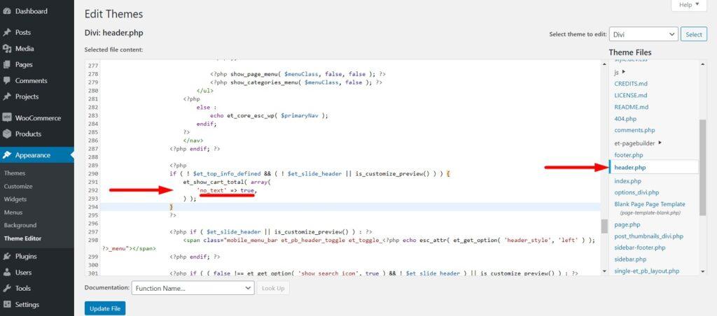 Divi header.php theme editor Cart Icon code