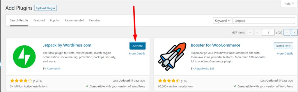 WordPress plugin Jetpack Activate button