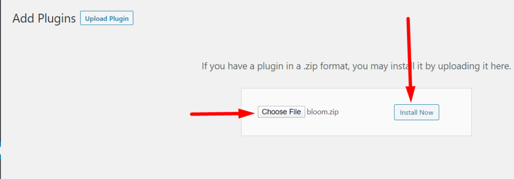 WordPress plugin Choose File and Install Now buttons