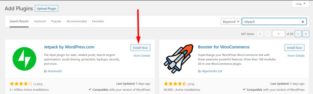 WordPress plugin Jetpack Install Now