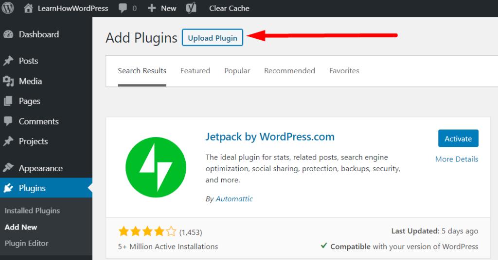 WordPress Dashboard Upload Plugin