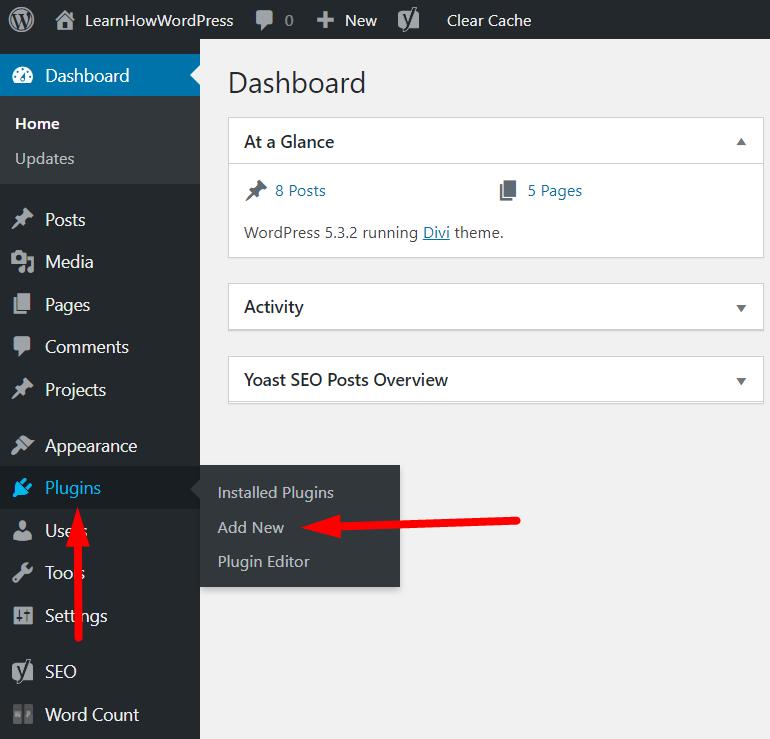 WordPress Dashborad Plugins Add New Link