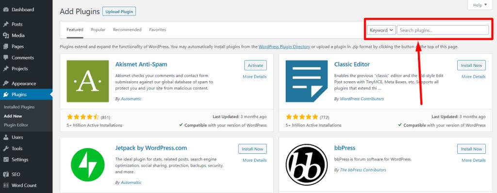 WordPress Dashboard plugin search