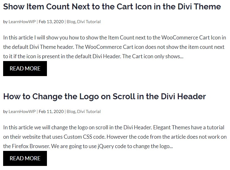 Read More Link Category pages Divi