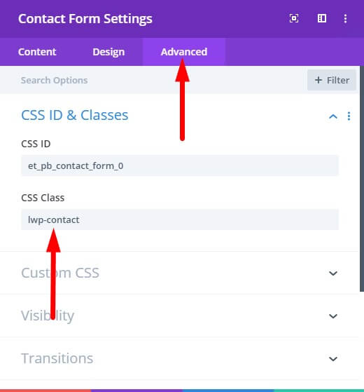 CSS Class in contact form module to show labels
