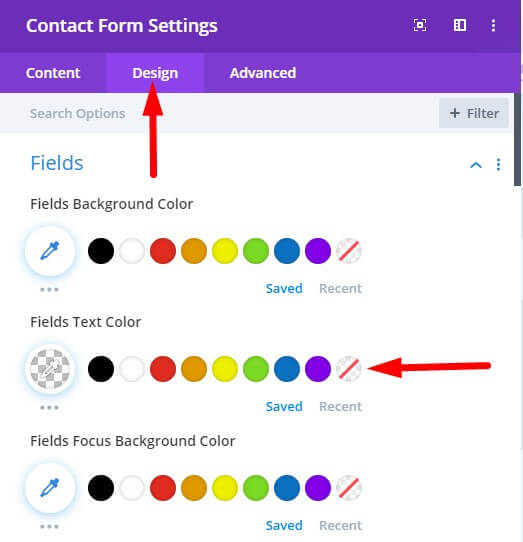 Contact form form field text style transparent