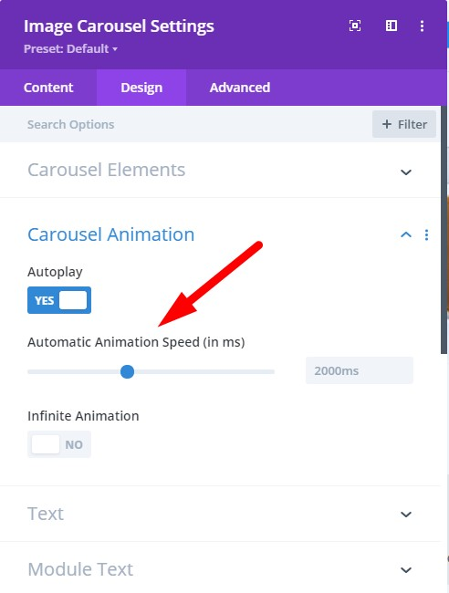 Divi Image Carousel Automatic Animation Speed