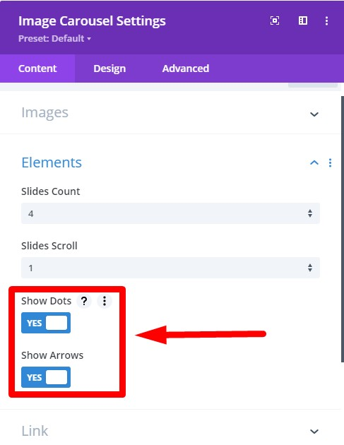 Divi Image Carousel Arrow and Dots settings