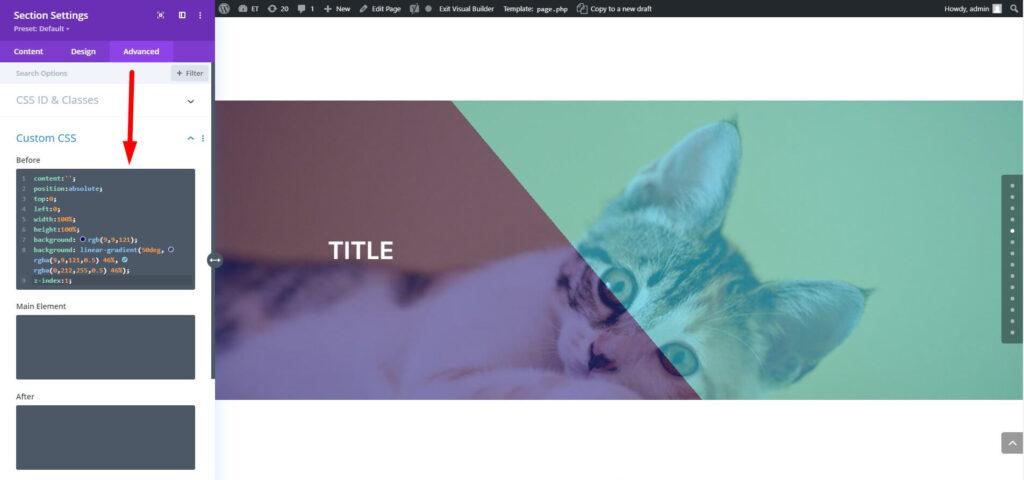 Overlay gradient on parallax background in Divi
