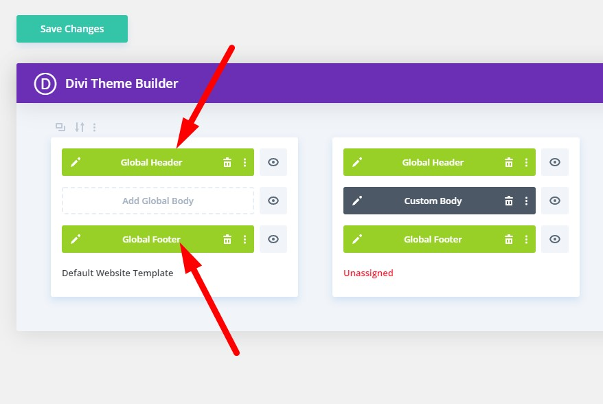 Custom header and footer created in the Divi theme builder