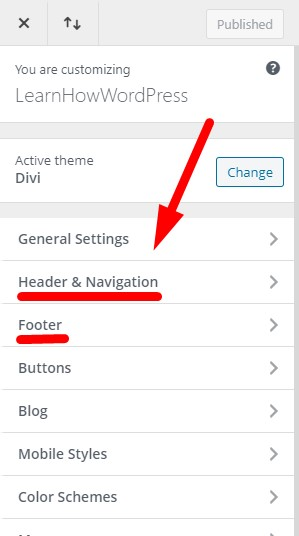 Header and Footer settings in Divi Theme Customizer