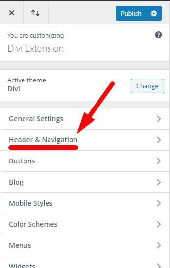 Only the header is visible in the Divi Theme Customizer