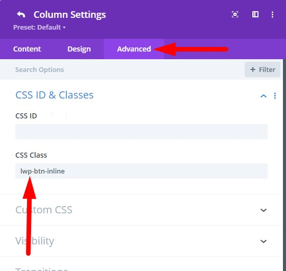 CSS Class to show buttons side by side Divi theme
