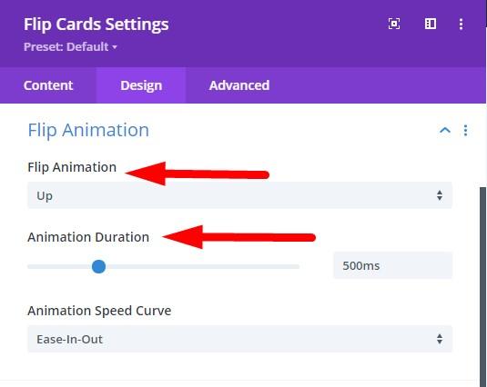 Flip card animation style