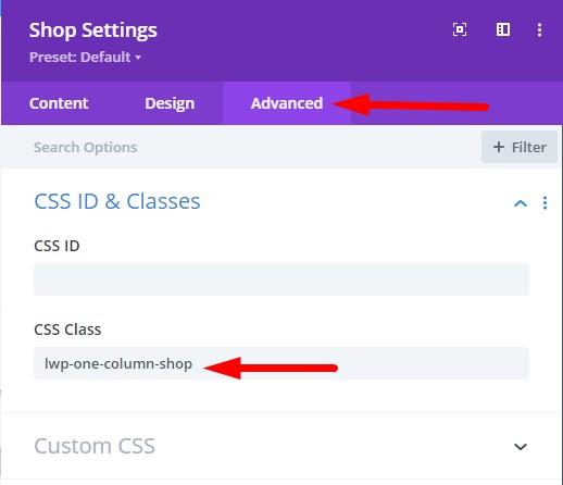 Shop module one column on small screens css class