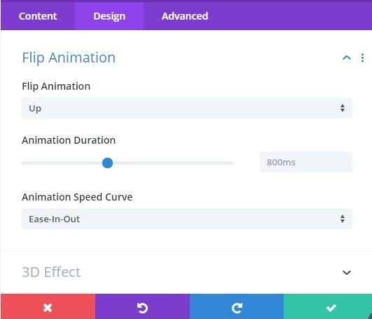 Flip Card Animation Settings