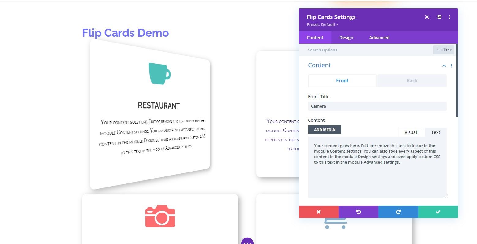 Flip Card Settings Visual Builder