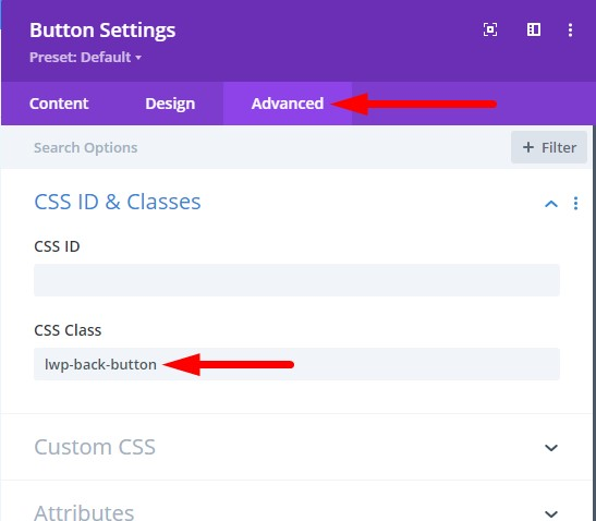 Divi browser history back button css class
