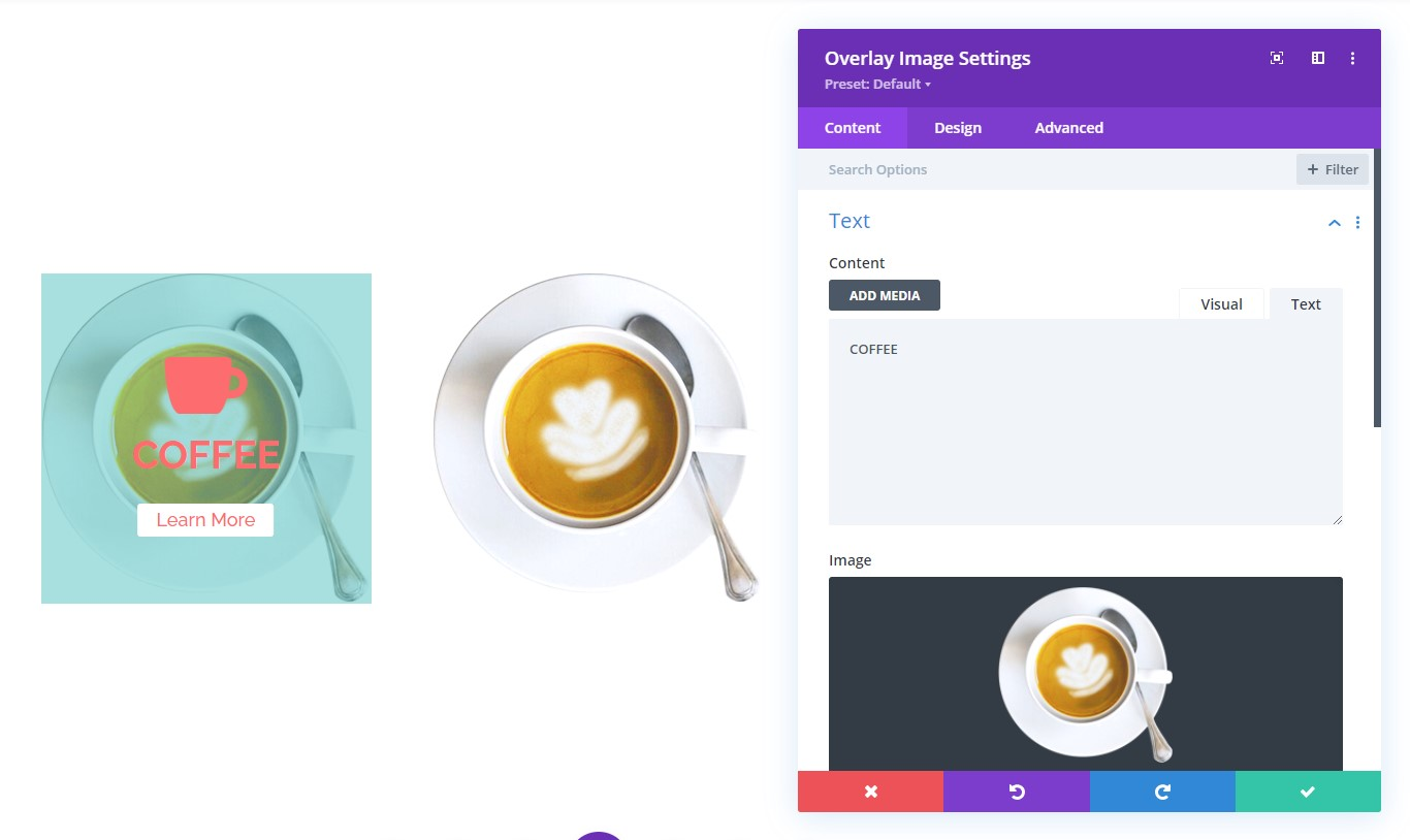 Overlay Images Visual Builder Supported