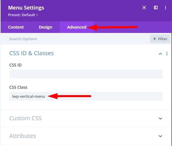 Vertical Menu CSS Class