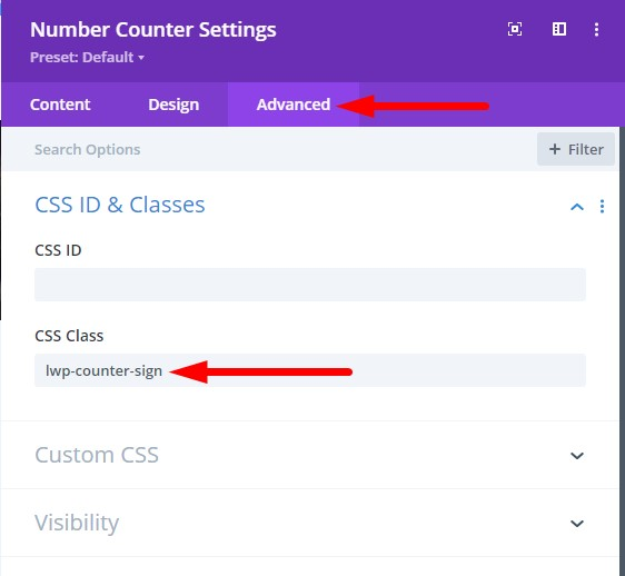 Number Counter settings CSS Class for changing to dollar sign